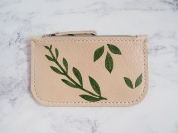 Genuine Hand Stitched Leather Zip Purse - Botanical Green