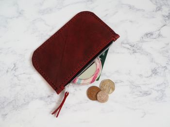 Genuine Hand Stitched Leather Zip Purse - Waxy Red
