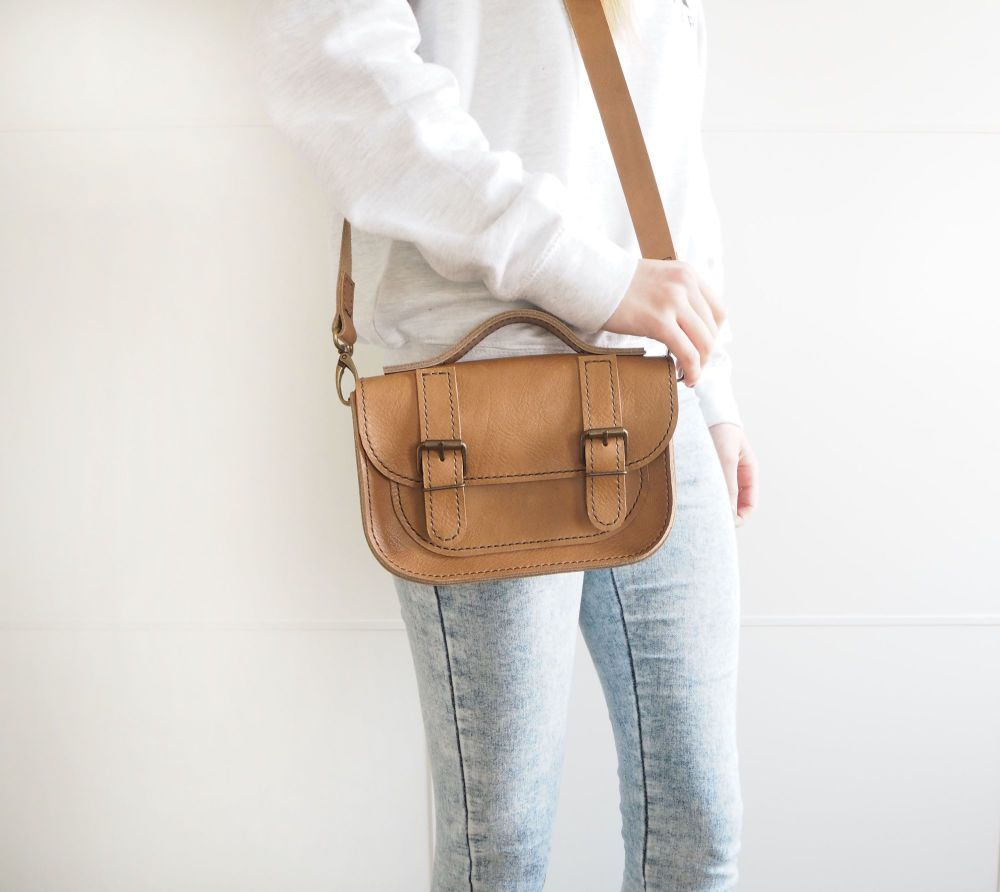Genuine Hand Stitched Mini Leather Satchel - Thick Tan Brown