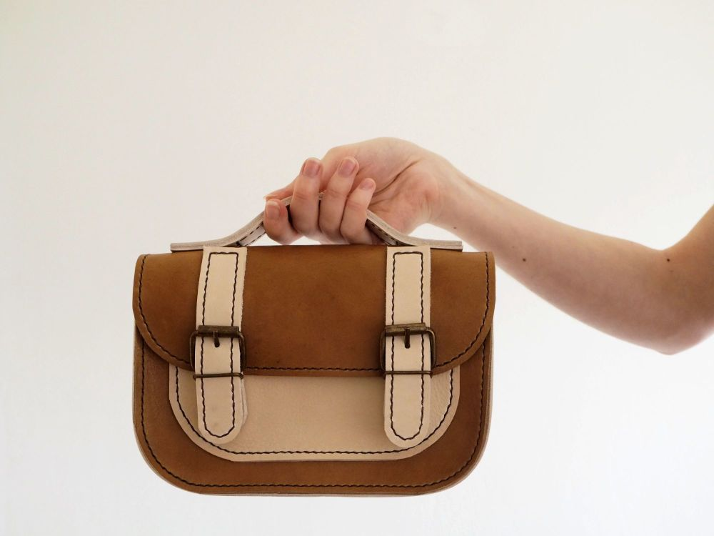 Genuine Hand Stitched Mini Leather Satchel - Thick Tan Brown & Cream Mix