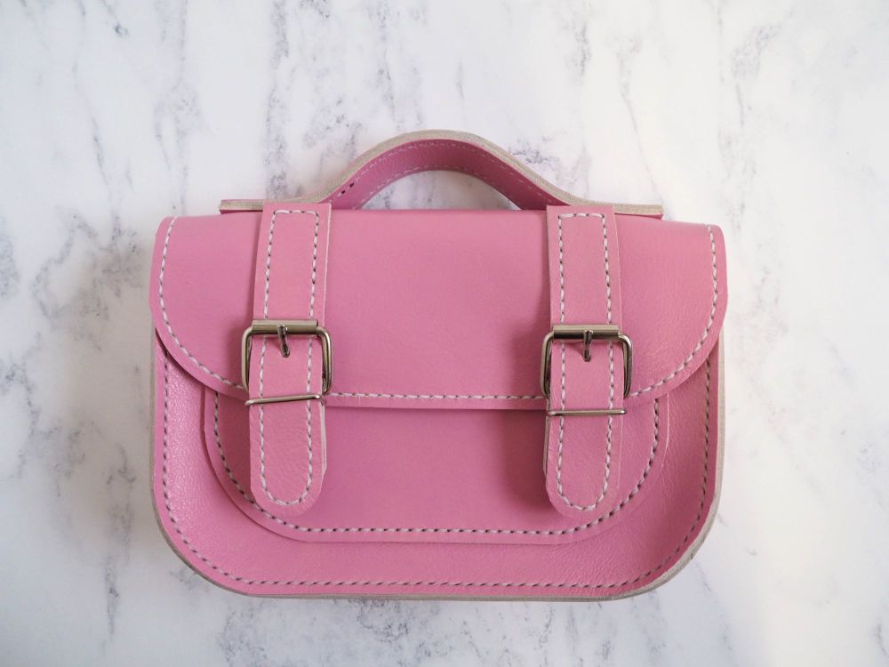 Genuine Hand Stitched Mini Leather Satchel - Hand Dyed Pink