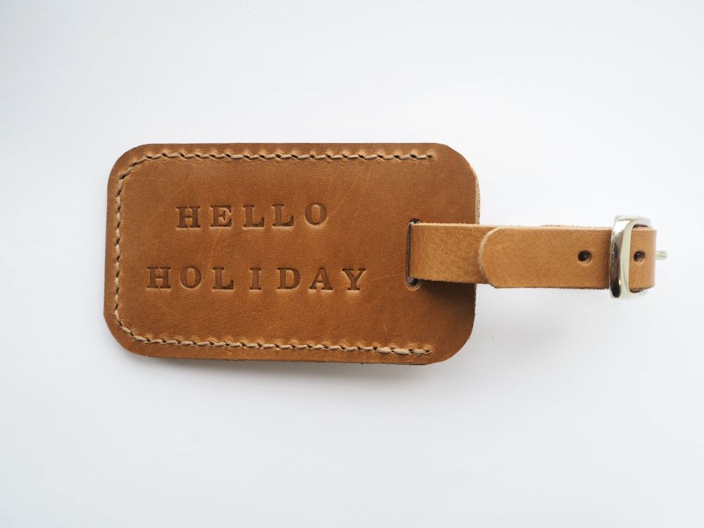 Genuine Leather Handmade Luggage Tag - Tan Brown