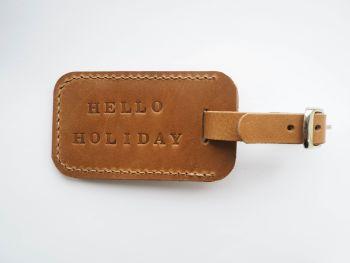 Genuine Leather Handmade Luggage Tag - Tan Brown