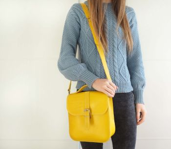 Genuine Hand Stitched Convertible Leather Messenger Bag & Backpack - Hand Dyed Yellow