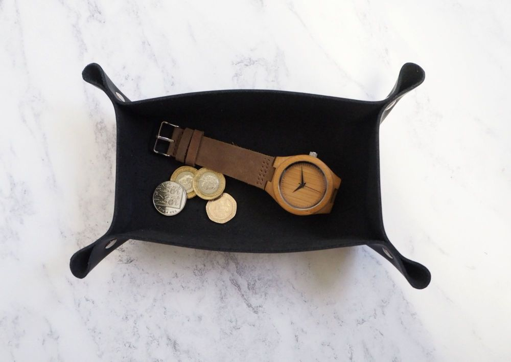 Genuine Handmade Black Leather Coin / Valet Tray - Small Rectangle