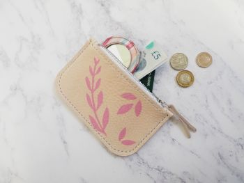 Genuine Hand Stitched Leather Zip Purse - Botanical Pink