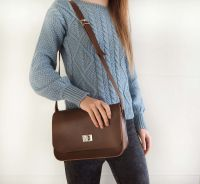 Genuine Hand Stitched Leather 'Abigail' Bag - Chocolate Brown