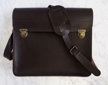 Genuine Hand Stitched Leather 'Jacob' Man Bag - Dark Brown