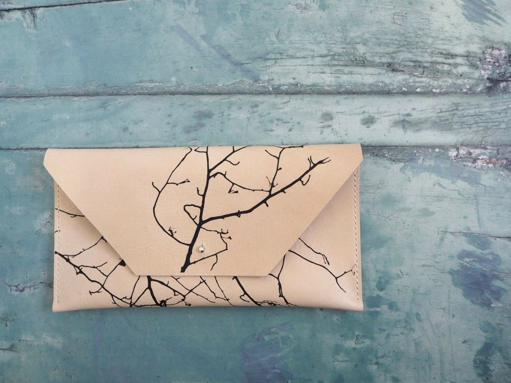 Genuine Hand Stitched Leather Clutch Bag - Cream Twig Silhouette
