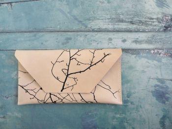Genuine Hand Stitched Leather Clutch Bag - Cream Twig Silhouette