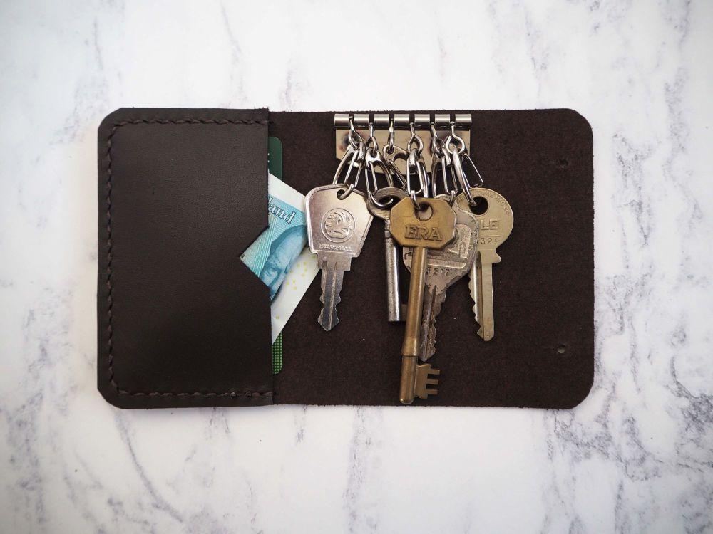 Handmade Genuine Leather Key Holder Pouch - Dark Brown