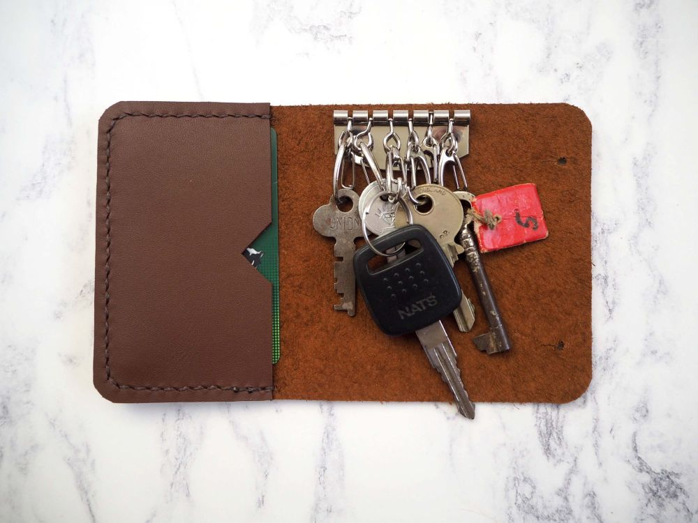 Genuine Handmade Leather Key Holder Pouch - Reddish Brown