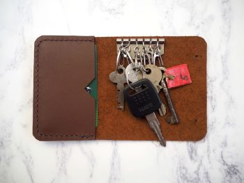 Genuine Handmade Leather Key Holder Pouch - Reddish Brown