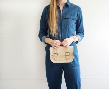 Genuine Hand Stitched Mini Leather Satchel - Thick Natural Cream