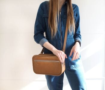 Genuine Hand Stitched Leather Becca Shoulder/Belt Bag - Tan Brown