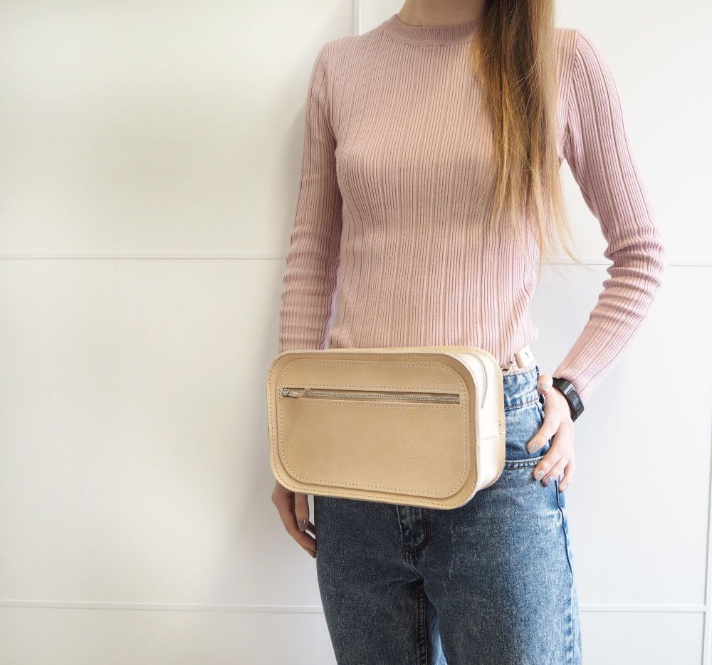 Genuine Hand Stitched Leather Becca Shoulder/Belt Bag - Natural Cream