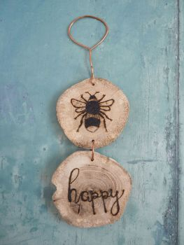 Hanging Wood Slice & Copper Bee Happy Wall Decoration