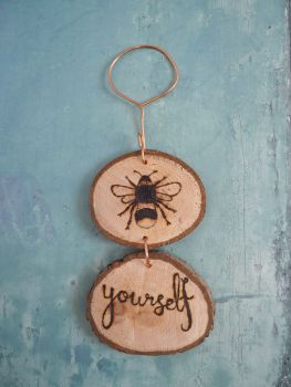 Hanging Wood Slice & Copper Bee Yourself Wall Decoration