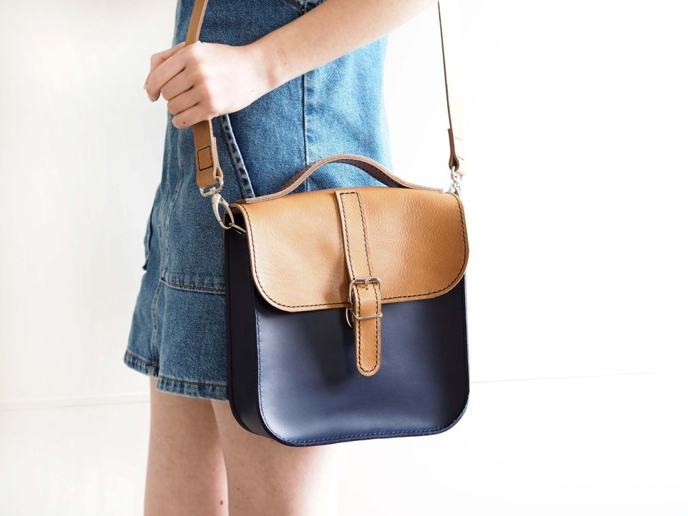 Genuine Hand Stitched Convertible Leather Messenger Bag & Backpack - Cara L