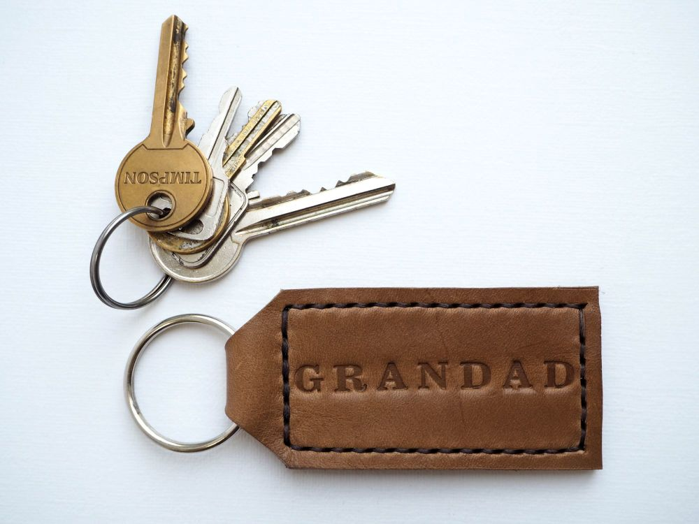 Handmade Leather Personalised Key Ring Gift for Grandad - Thick Tan & Cream