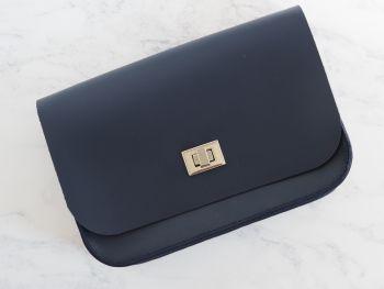 Genuine Hand Stitched Leather 'Abigail' Bag - Dark Blue