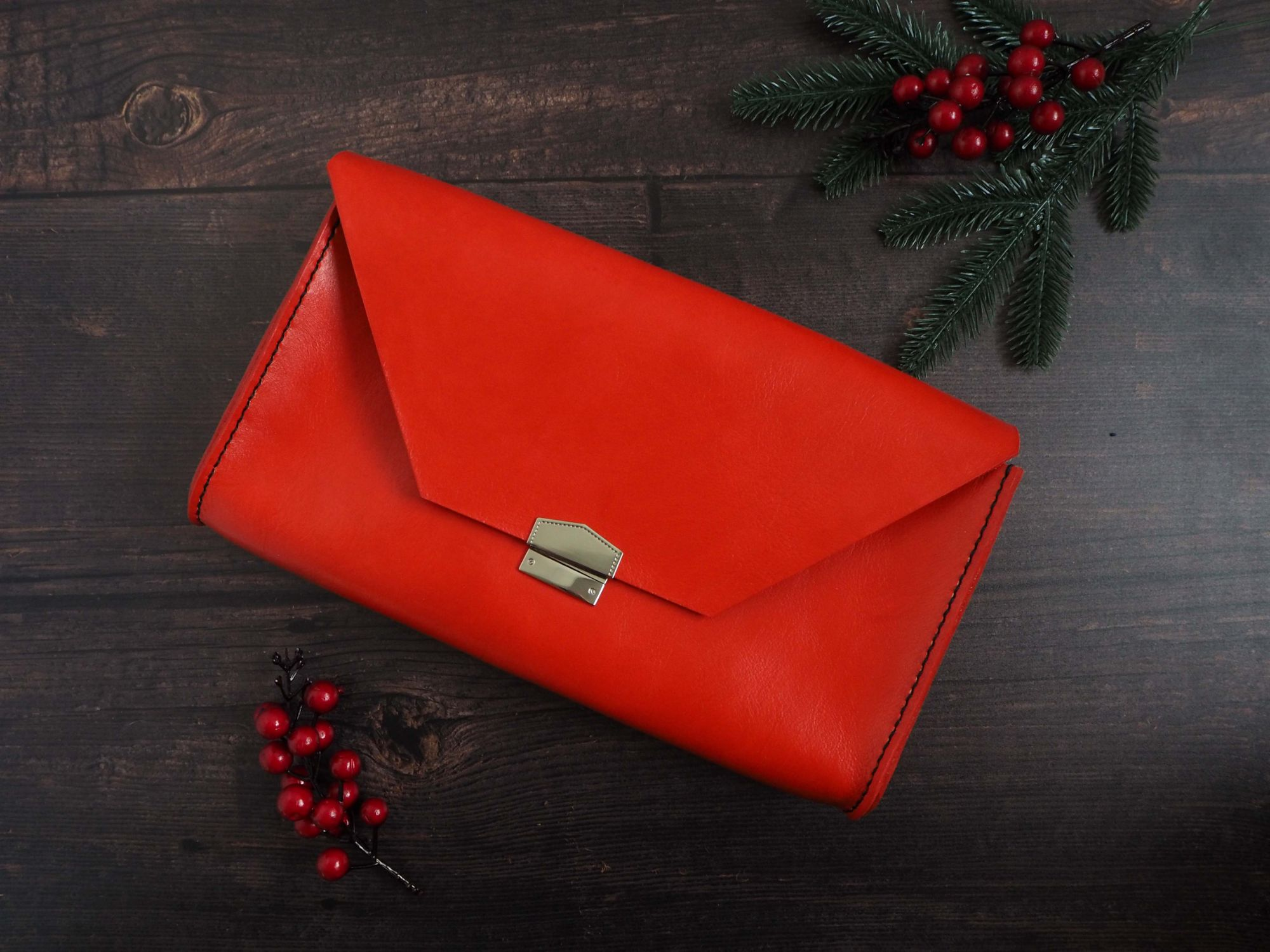 Hand Stitched Red Leather Shoulder Clutch Bag