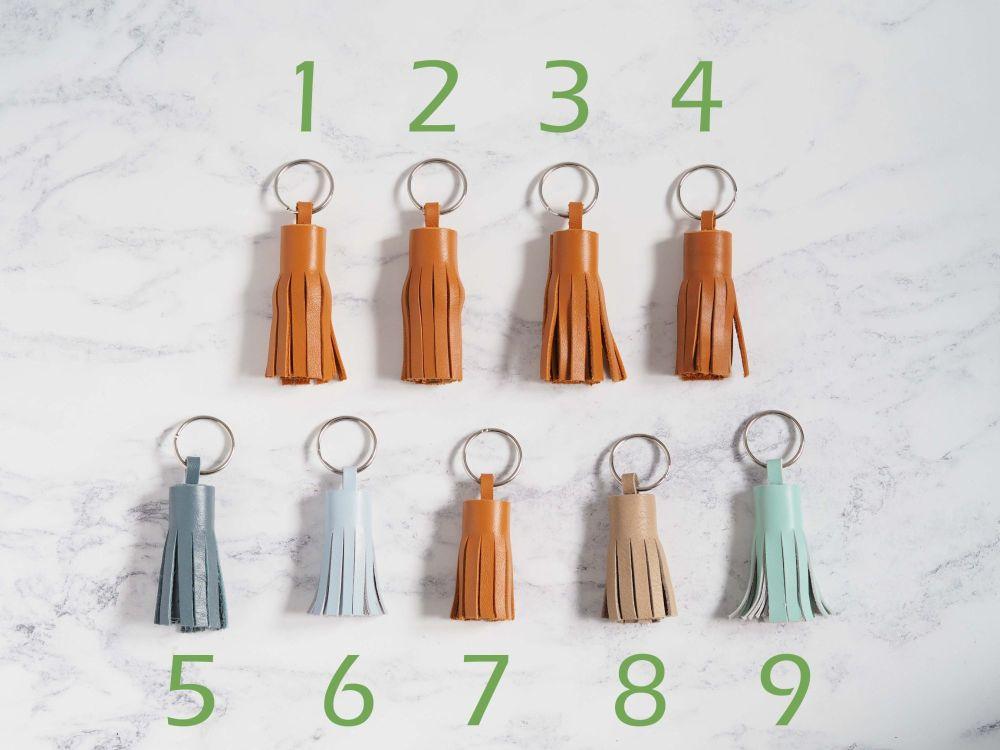 Handmade Leather Tassel Key Rings - Mixed Colours