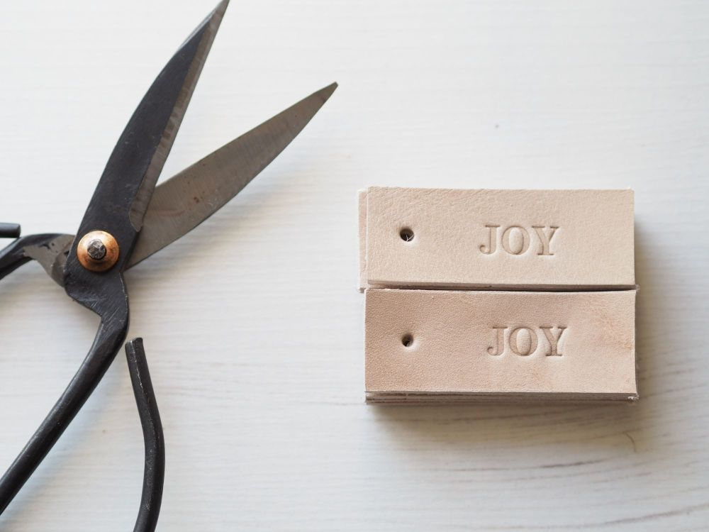Handmade Leather Gift Tags - Set of 10 - JOY - Cream