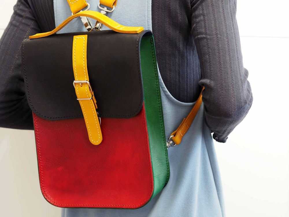 Genuine Hand Stitched Leather Backpack - Rainbow Bag