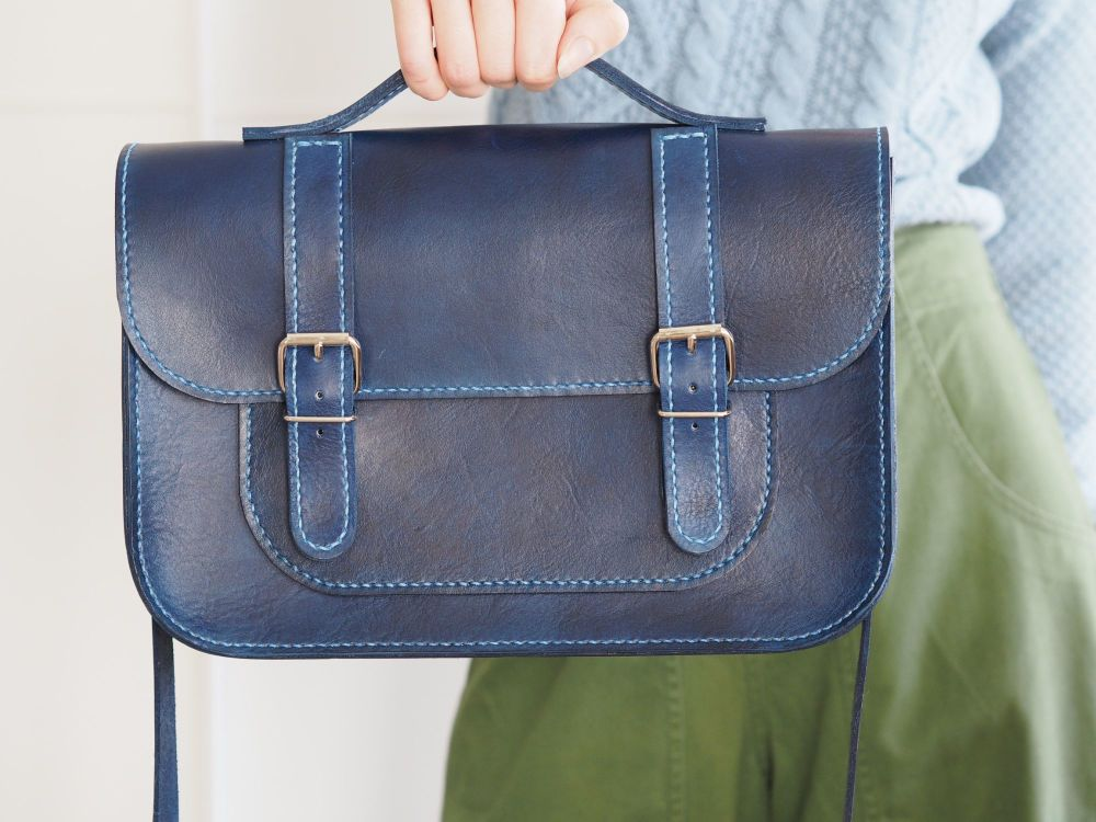 Genuine Hand Stitched Leather Satchel - Hand Dyed Blue