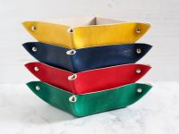 Genuine Handmade Leather Coin Tray - Multi Coloured Options - Personalised Gift