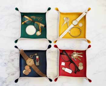 Genuine Handmade Leather Catch All Tray - Multi Coloured Options - Personalised Gift