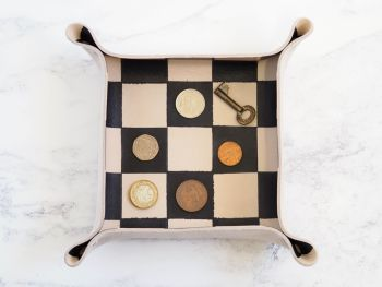 Genuine Handmade Leather Catch All Tray - Chequered Design - Multi Coloured Options - Personalised Gift