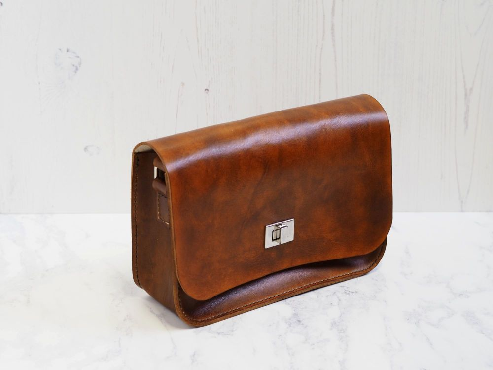 Genuine Hand Stitched Leather 'Abigail' Bag - Conker Brown