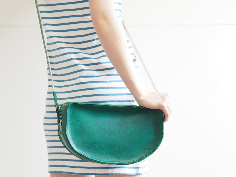 Genuine Hand Stitched Leather Danni Shoulder Bag - Hand Dyed Green