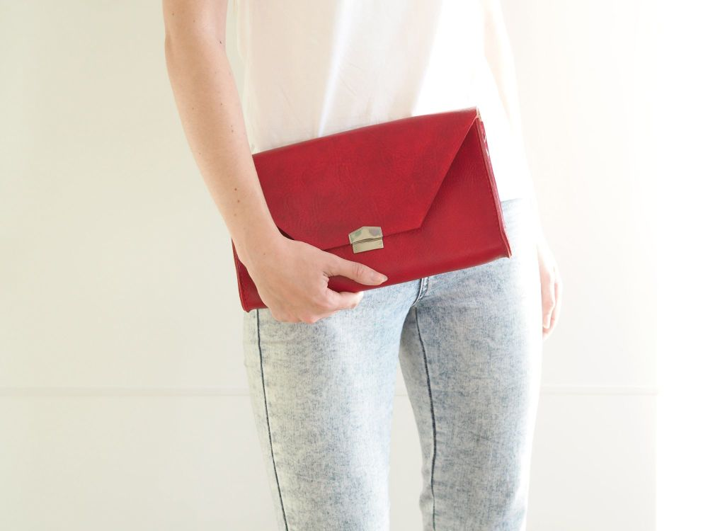 Genuine Hand Stitched Leather 'Chloe' Clutch Bag - Hand Dyed Bright Red