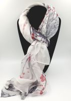 Red Blossom Pattern Silk Scarf