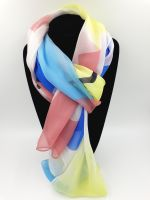 Blue, Coral, Yellow Abstract Pattern 100% Silk Scarf