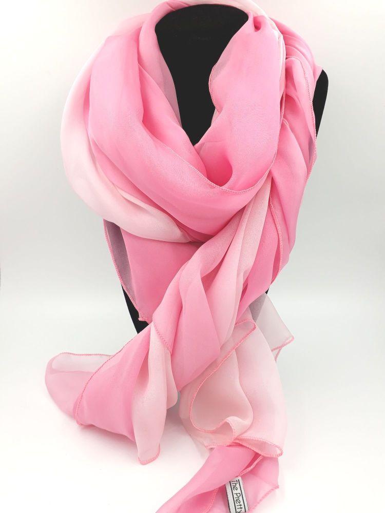 Pink to White Ombre Silk Pashmina