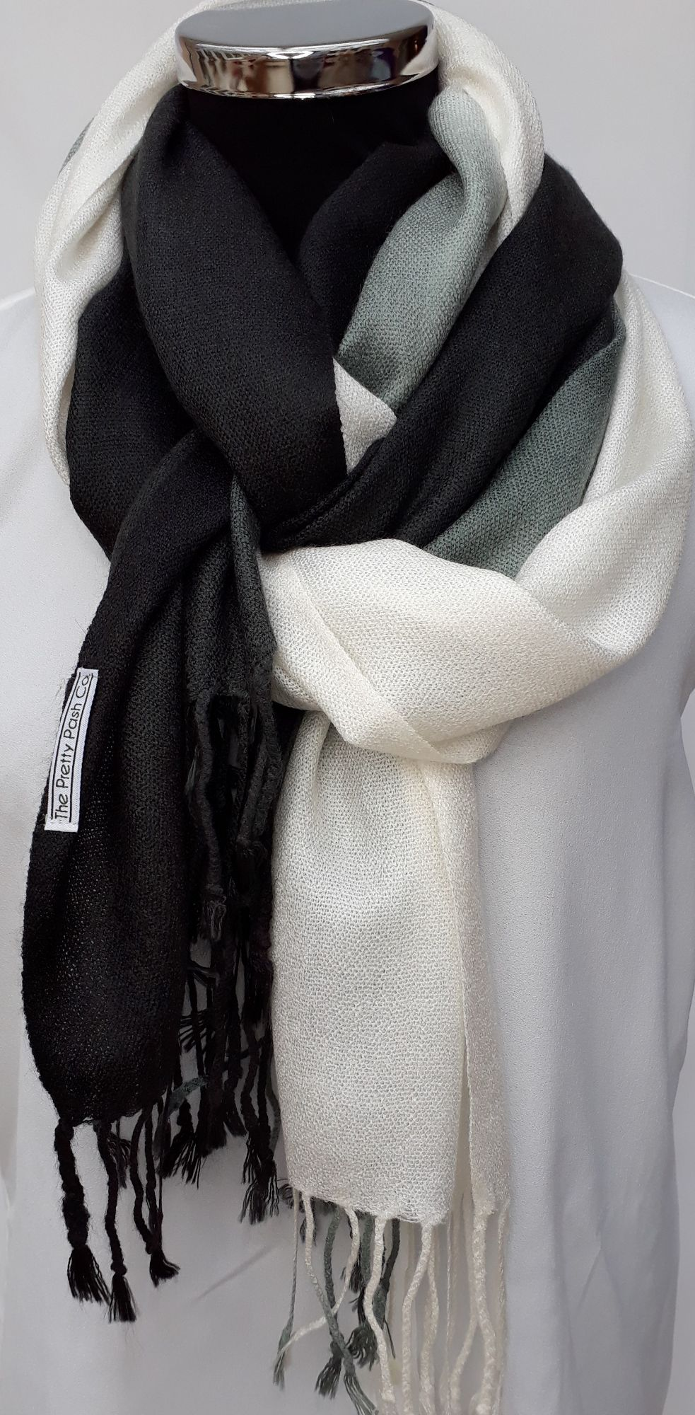 Black to White Ombre Pash