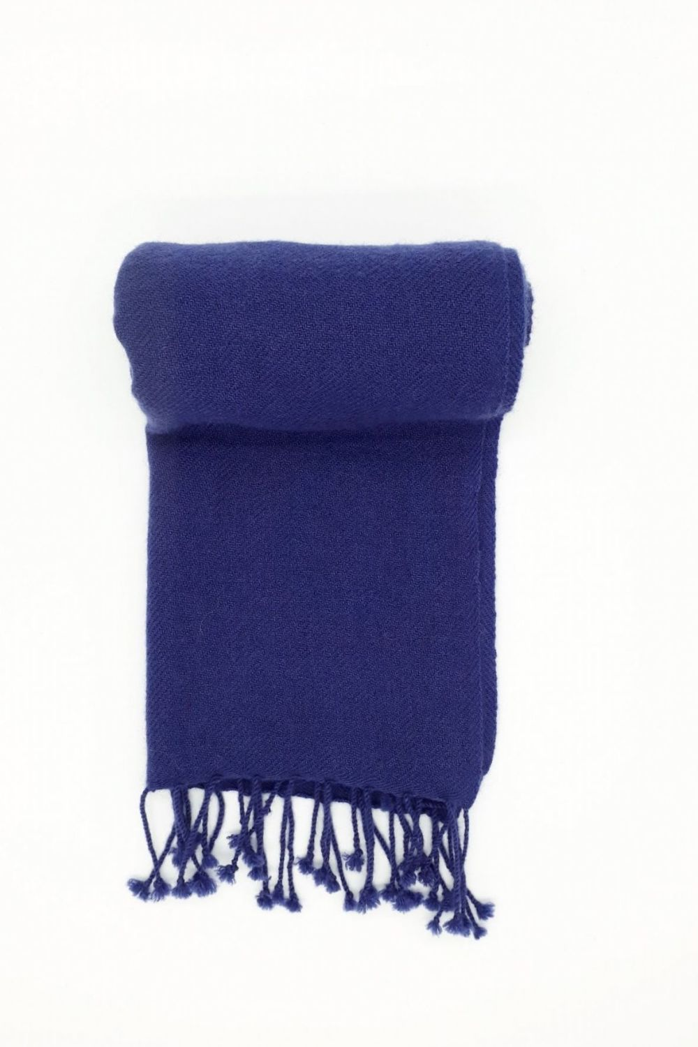 Plain Jayne French Navy Blue 100% Cashmere Scarf