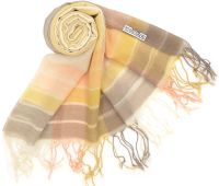Merino Megan Chequered Pash - Apricot, Taupe and Cream
