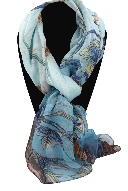 Blue Silk Pashmina With Woodland Scene