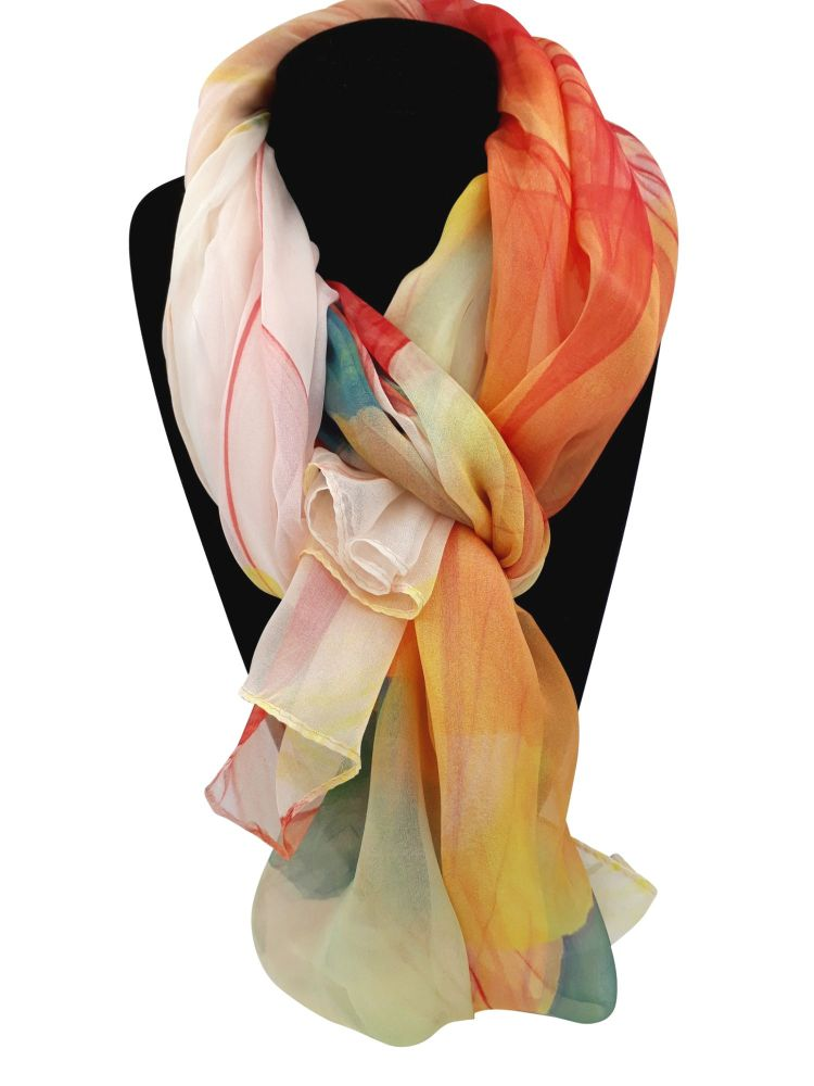 Warm Orange, Red, Yellow Abstract Design 100% Silk Pashmina