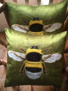Velvet Olive Green Bee Cushion
