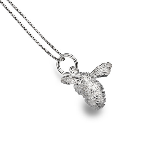 Solid Silver Bumblebee Necklace