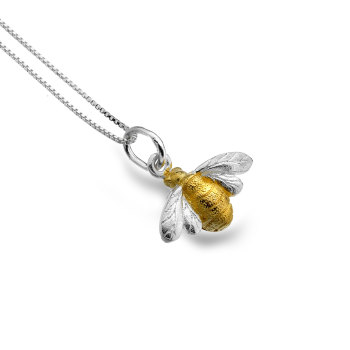 Sterling Silver Bumblebee with Brass Body Necklace