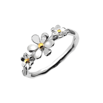 Sterling Silver Triple Daisy Ring
