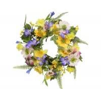 Mixed Spring Flower and Butterfly Door Wreath