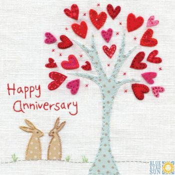 Happy Anniversary Rabbits under Tree Card